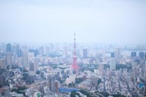東京タワーを中心とする東京の街並み