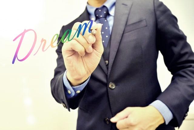 ペンで「Dream」と書くスーツ姿の男性